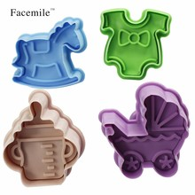 Facemile 4 Styles 3D Cartoon Plastic Cake Mould Cookies Chocolate Mold Biscuit Cutter Mold Kitchen Fondant Decorating Tools(China)