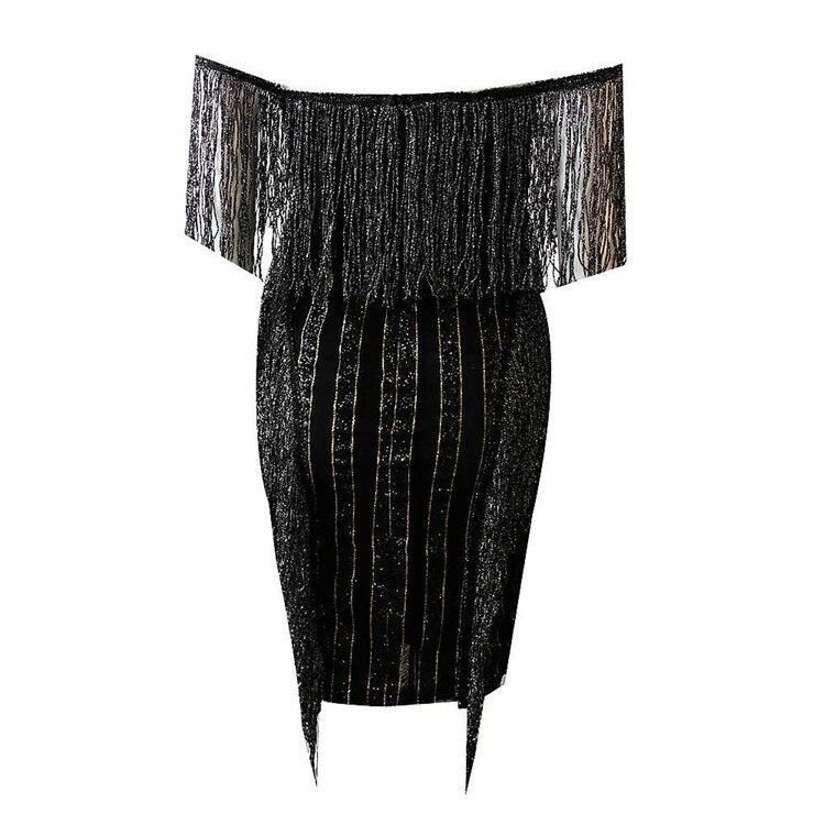 See Orange Bling Bling Beading Black Dress Women Sexy Slash Neck Empire Party Dress Female SO7847 6