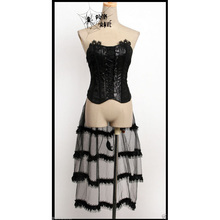 Punk Rave Black Sexy Vest Gothic Vampire Rock Womens Bandage Top with Lace Tail Y304(China)
