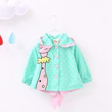 Spring Autumn Baby Coat Outwear Kids Outerwear Clothes Infant Girl Hooded Cartoon Dot Cardigan Coat Children Windbreaker Jacket