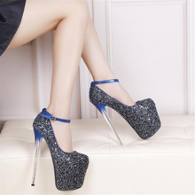 Women prom bridal gold & blue giltter closed toe on the platform 20 cm extreme crystal thin high heels pumps plus size 43 shoes