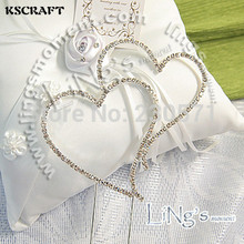 KSCRAFT Silver Diamante Double Heart Rhinestone Cake Topper for Wedding Party Decoration Supplies