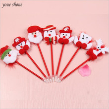 YOUE SHONE 1Pcs/lots Hot Christmas Ballpoint Pen Plush Christmas Cartoon Pen Christmas Pen