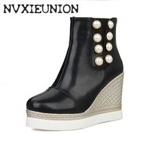 Big size 34-43 New Spring summer boots Women's shoes High heel Pump Platform round toe Fashion Sexy Black white