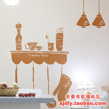 Table Light Design Wall Sticker Coffee Shop Kitchen wall stickers rustic style wall stickers glass stickers wall covering(China)