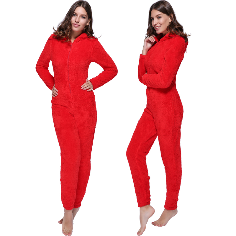 Winter Warm Pajamas, Women's Sleepwear Fleece Pajamas Set, Lounge Hooded Pajamas 8