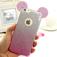 Minnie Mickey Ears 3D Case For iPhone 6 6S 7 Plus 5 5S 4 4S SE Bling Bling Shine Cute Soft TPU Phone Back Case Cover