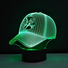 Baseball cap Table Lamp MLB New York Yankees LED Night Light 3D Optical Illusion Bulbing Child USB NightLight Luminaria de mesa(China)