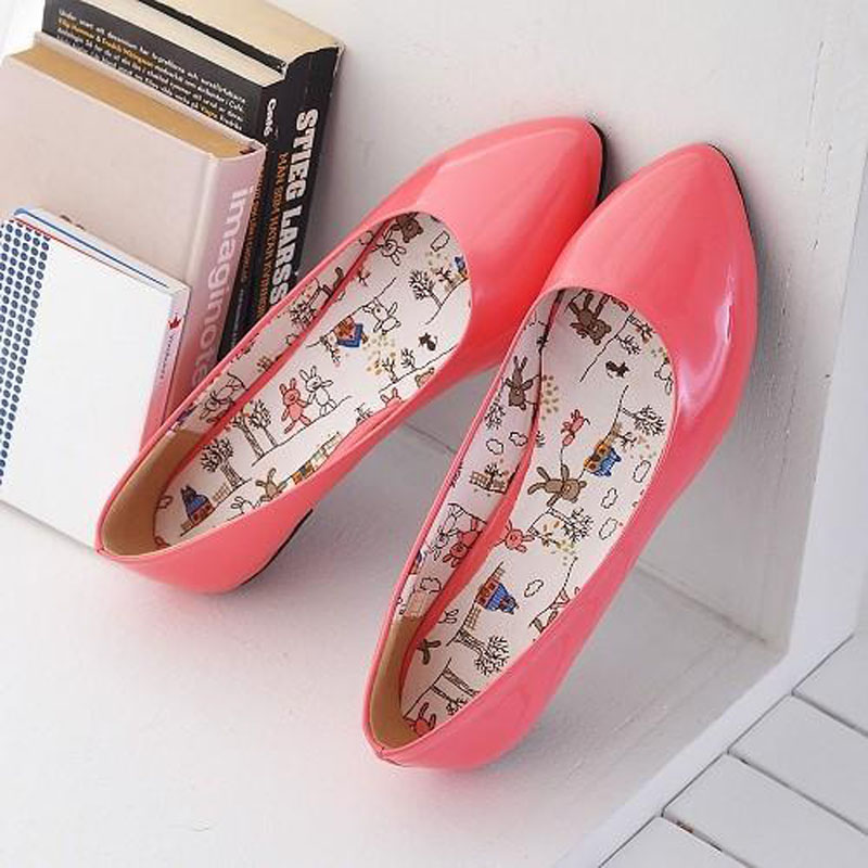 Fashion Candy Color Patent Leather Pointed Toe Ballet Flats Plus Size 34-43 Casual Women Flats Concise Ladies Ballerinas Flats<br><br>Aliexpress