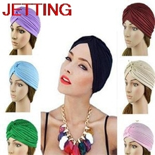 JETTING-Holiday sale Stretchy Turban Head Wrap Band Sleep Hat Women India Caps Scarf Hat Ear Cap 14 Colors(China)