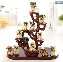 Dog simulation 12 small dog creative desk resin animal ornaments home decorations birthday craft gift(China)