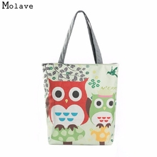 Naivety Casual Women Bag Cute Owl Printed Canvas Tote Portable Shopping Bags Bolso De Compras 2017 New 11S61007 drop shipping(China)