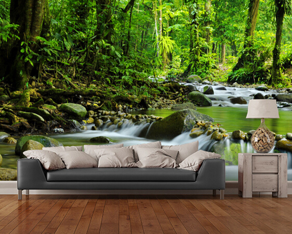 Custom landscape wallpaper,Mountain Stream,3D natural for living room bedroom kitchen background wall waterproof silk wallpaper<br>