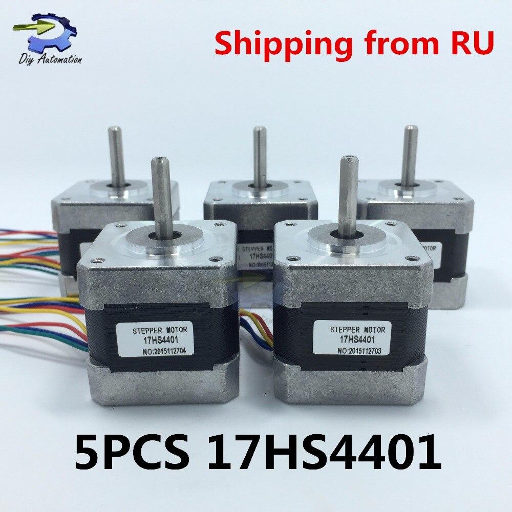 CE certification 5pcs 4-lead Nema17 Stepper Motor 42 motor Nema 17 motor 42BYGH 1.7A (17HS4401) 3D printer motor and CNC XYZ<br><br>Aliexpress
