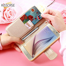 KISSCASE Luxury Flip Flower Case For iPhone 6 6s 7 Plus 5S SE For Samsung Galaxy S7 S6 Edge Stand Wallet Cover Card Slot Pouch