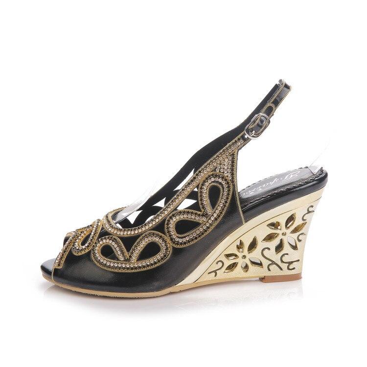 2017 Summer New Diamond Fashion Womens Black Peep Toe Wedges Bridal Sandals Wedding Shoes High Heels Cause Footwear-9