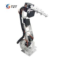 Arduino Robot 6 DOF Aluminium Clamp Claw Mount Kit Mechanical Robotic Arm & Servos & Metal Servo Horn-Silver