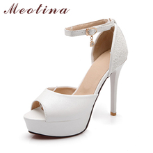Meotina White Wedding Shoes Women Open Toe Ankle Strap High Heels Party Platform Shoes Bridal White Pink Shoes Big Size 40 43