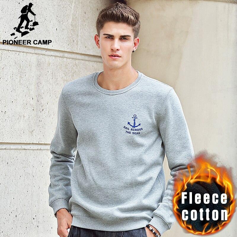 Pioneer Camp new 2017 autumn winter fashion mens hoodies casual 100% cotton thicken fleece crewneck hoodie sweatshirt 405102