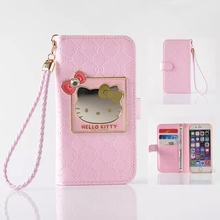 Fashion Women Girl Lanyard Hello Kitty Flip Wallet Stand Leather Case For iPhone 7/7 Plus 6 6S / Plus With 6 Card Holders Cover