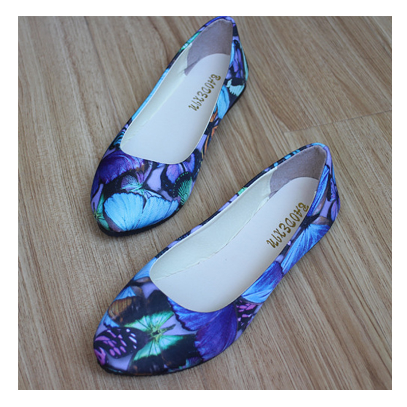 2016 Women Fashion Spring Autumn Print Butterfly Flat Shoes Ladies Slip-On Canvas Pointed Toe Shoes CXD-102HD<br><br>Aliexpress