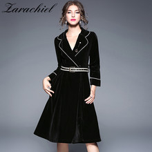 Zarachiel Winter 2017 Runway Jacket Women's Luxury Velvet Heavy Dress Office Lady Long Sleeve Deep V-Neck Midi Dress With Sashes(China)