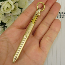 Cool Design Mini Writing Ballpoint Pen Pure Brass Hand-made Gun style retractable Ball Pens with Key ring Office Accessory 1713B(China)