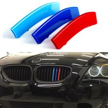 3D M Styling Car Front Grille Trim Sport Strips Cover Motorsport Power Performance Stickers for 2004-2010 BMW 5 Series E60(China)