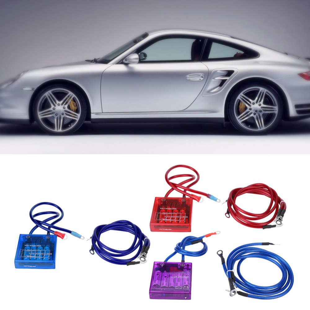 Purple Universal Car Fuel Saver Voltage Stabilizer Regulator with Wries Kits