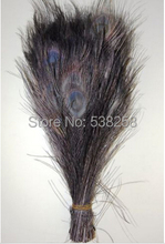 Free shipping Black dyed peacock feather 100pcs/lot length 25- 30 cm 10-12 inch peacock feathers wedding decorations wholesale