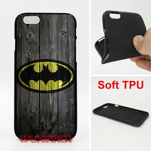 Wood Batman Phone Cases Soft TPU For iPhone 6 7 Plus SE 5S 4S Touch 6 For Samsung S8 Plus S7 S6 Edge S5 Note 5 4 2016 J3 J5 A5(China)