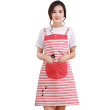 5Colors Cross Strip With Cat Cooking Aprons Fashion Pinafore Dress Long Apron Dress For Kitchen Cleaning Sanitary
