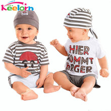 Keelorn Baby boys Set 2017 New Cute Letter Baby Boy Suit 3Pieces Hat T-Shirt Pants Summer Outfit For Toddler Vestidos(China)