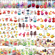 1pcs Fruit Cake Designs Nail Art Stickers Sweet Ice Cream Chocolate Water Transfer Nail Art Beauty Tips Manicure TRSTZ474-488(China)