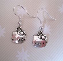 Earring, Antique Silver *CUTE HELLO KITTY CAT * TIBETAN SP Earrings GIFT POUCH NEW 24 pair ab635(China)