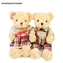 (2pcs/lot) 30CM Kawaii Couple Teddy Bears Plush Soft Toys Stuffed Valentine Teddy Bear with Grid Clothes Children Girls Gifts