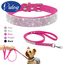 Didog Suede Leather Puppy Dog Collar Leash Set Adjustable Rhinestone Cat Collars Walking Leashes For Small Medium Pets XS S M(China)