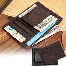 Men money clips vintage genuine leather front pocket clamp for money holder magnet magic money clip wallet with card ID Case P5