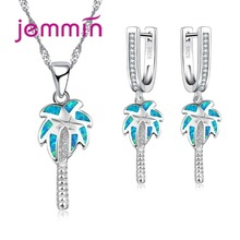 Jemmin New Coconut Tree Fine Party Jewelry Sets For Women Girls Blue Fire Opal Pendant Necklaces Dangle Earrings Sterling Silver(China)