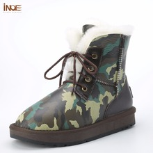 INOE new style real sheepskin leather sheep fur lined men winter ankle snow boots for man lace up flats blue & green Camouflage(China)