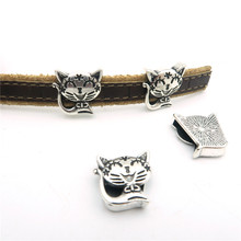 10pcs For 10mm flat leather Antique sliver cute cat Sliders jewelry finding supplies D-1-113(Portugal)