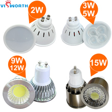 Wholesale GU10 led spotlights 2W 3W 5W lamp cup 9W 12W 15W cob led lamp ac 110v 220v 240v led bulb warm cold white led light
