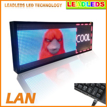 RGB Full color LED sign 30''X11''/ support scrolling text LED advertising screen / programmable image video indoor LED display(China)