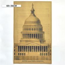 Vintage The United States Capitol Complex Building Design Drawing Poster Retro Kraft Paper Bar Home Decor Wall Sticker 60x36cm
