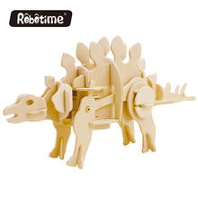 robot life size dinosaur Robotime DIY 3D Wooden Puzzle Electric  Stegosaurus Can be Painted D440S