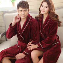 Autumn Winter Women Robes Long Mujer Robe Couples BathrobeThickening Coral Fleece Flannel Bathrobe Sexy Leopard Nightgown(China)
