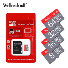 Wellendroff Brand 4GB 8GB 16GB 32GB 64GB 128GB microsd memory cards micro sd card TF card free adapter for Phone/Table/Camera(China)