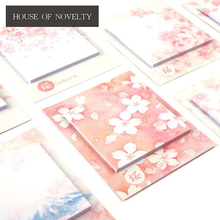 Romantic Sakura Beautiful Flowers Self-Adhesive N Times Memo Pad Sticky Notes Post It Bookmark School Office Supply(China)