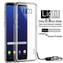 TPU soft clear case for Samsung S8 case with lanyard rope and screen protect sticker film phone cover for Galaxy S8 coverr