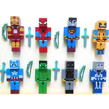24pcs/lot Minecraft Superhero building block Toy set  2015 New minecraft Series 3 sword zombie steve juguetes figurine pickaxe